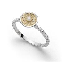 """Ring """"Sandschale"""" Perle rhodiniert"""