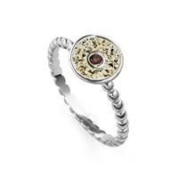 "Ring ""Sandschale"" Granat, rhodiniert"