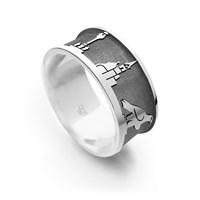 """Ring """"Villach sandlos"""" dunkel rhodiniert"""